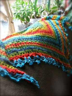 detail of the Rainbow Shawl - fillet crochet