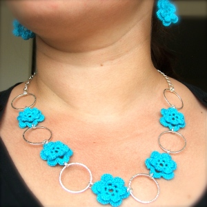 flowery set - crochet earrings and necklace in turquoise cotton yarn