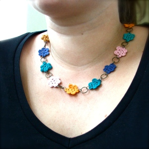 Multicolored Crochet Flower Necklace
