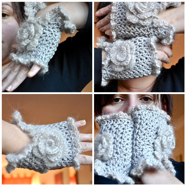 fingerless mittens with a rose