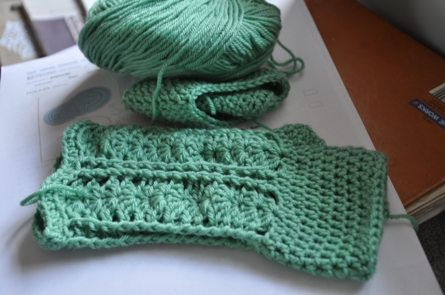 crochet handwarmers in progress