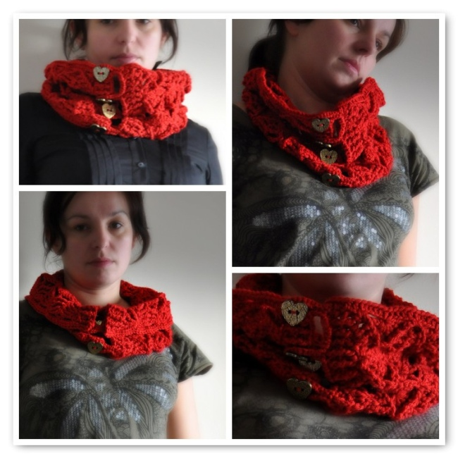 crochet neckwarmer with tree pattern