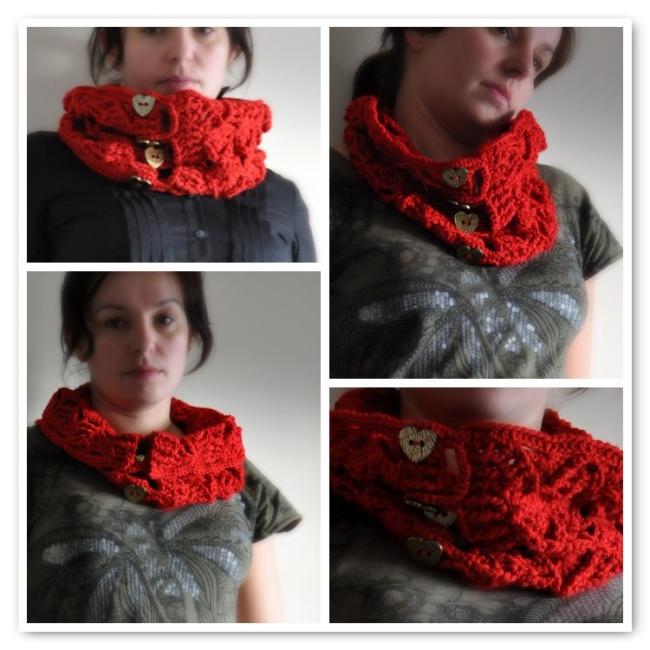 crochet neckwarmer with tree pattern