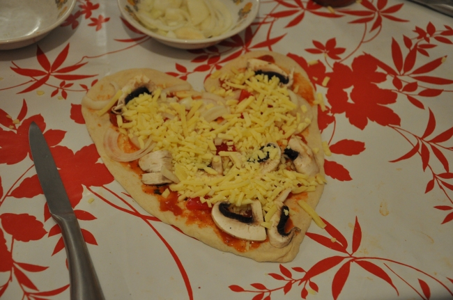 pizza made by my daughter - yummy