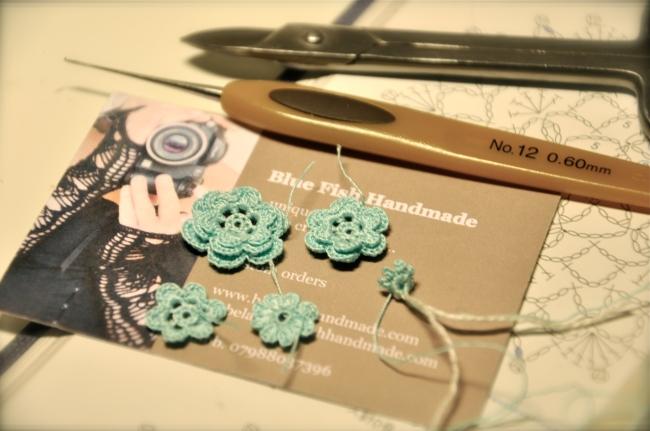 teal blue crochet flowers