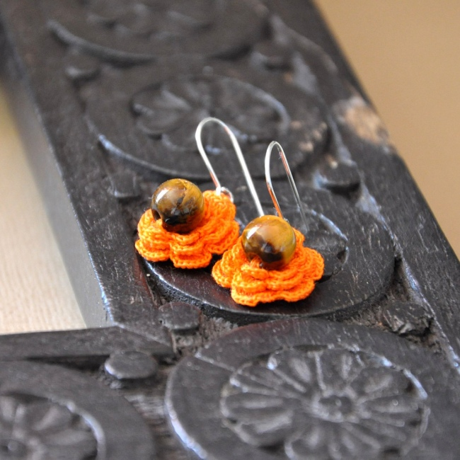 photo of tiger eye and crochet earrings