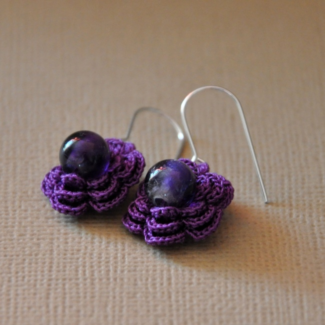 photo of crochet earrings