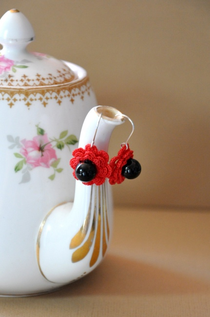 photo of crochet flower earrings