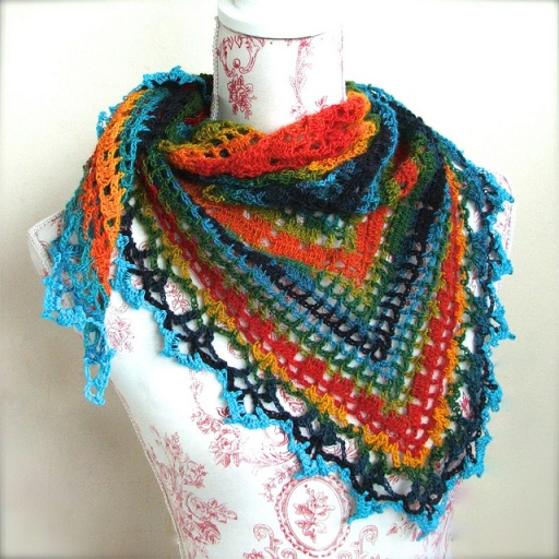 photo of the triangular crochet shawl