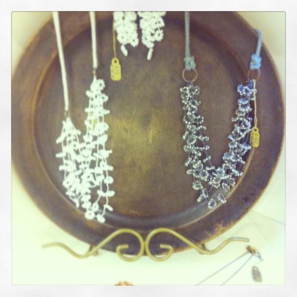 crochet flower necklaces in craft coop shop