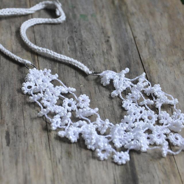 white_crochet_beaded_flower_silk_silver_wedding_necklace