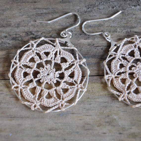delicate crochet earrings - tea stained